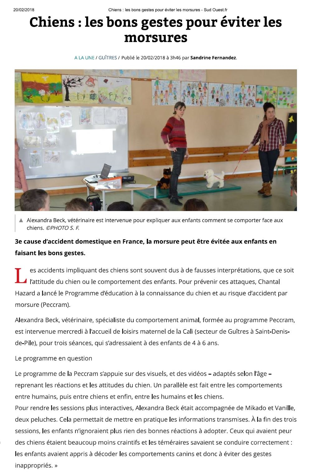 Article Sud Ouest 20 fev 18_