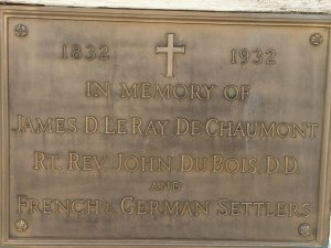 plaque at cross