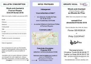 inscription stage chorale 1