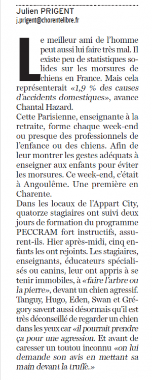 Article Charente libre corps de l'article